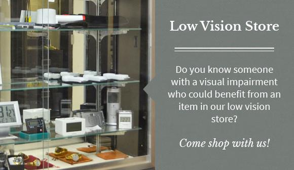 Graphic link to the Low Vision Store page at Mary Bryant Home